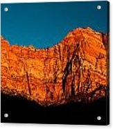 Alpenglow In Zion Canyon Acrylic Print
