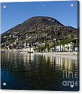 Alpine Village Reflected In The Lake Acrylic Print