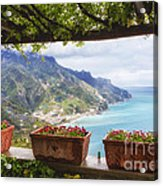 Amalfi Coast Vista From Under A Trellis Acrylic Print