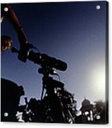 Amateur Astronomer Observing A Solar Eclipse Acrylic Print by Dr Fred Espenak