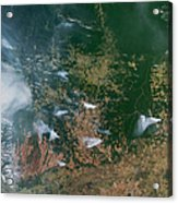 Amazon Basin Forest Fires, Satellite Acrylic Print by NASA / Science Source