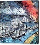 American Civil War, Farraguts Fleet Acrylic Print
