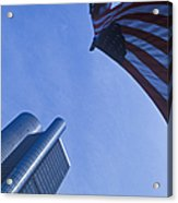 American Flag And Renaissance Center In Detroit, Michigan Acrylic Print by Will & Deni McIntyre