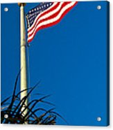 American Flag Flying Over The Palms Acrylic Print