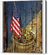 American Flag In Flower Pot - 1 Acrylic Print