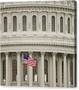 American Flag On The Capitol Building Acrylic Print