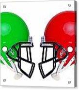 American Football Helmets Isolated Acrylic Print by Richard Thomas