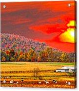 Amish Farm Sundown Acrylic Print by Randall Branham