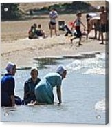Amish Girls At The Beach Acrylic Print by MB Matthews