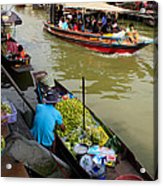 Ampawa Floating Market Acrylic Print by Adrian Evans