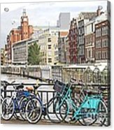 Amsterdam Canal And Bikes Acrylic Print
