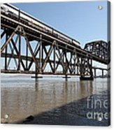 Amtrak Train Riding Atop The Benicia-martinez Train Bridge In California - 5d18829 Acrylic Print