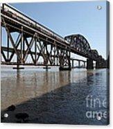 Amtrak Train Riding Atop The Benicia-martinez Train Bridge In California - 5d18830 Acrylic Print