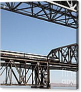 Amtrak Train Riding Atop The Benicia-martinez Train Bridge In California - 5d18835 Acrylic Print