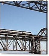 Amtrak Train Riding Atop The Benicia-martinez Train Bridge In California - 5d18837 Acrylic Print