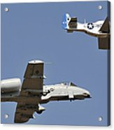 An A-10 Thunderbolt And A P-51 Mustang Acrylic Print