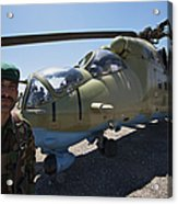 An Afghan Army Soldier Guards An Mi-35 Acrylic Print