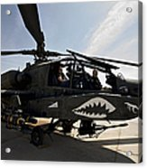 An Ah-64d Apache Helicopter Parked Acrylic Print