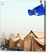 An Air Force Flag In Tent City Waves Acrylic Print
