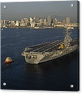 An Aircraft Carrier With The Skyline Acrylic Print