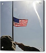 An Airman Salutes The American Flag Acrylic Print