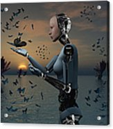 An Android Takes A Closer Look Acrylic Print