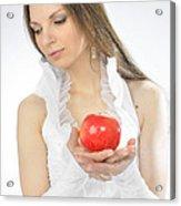 An Apple In Hands Acrylic Print