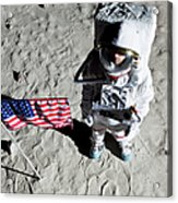 An Astronaut On The Surface Of The Moon Next To An American Flag Acrylic Print by Caspar Benson