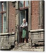 An Elderly Woman Stands At The Door Acrylic Print by Cotton Coulson