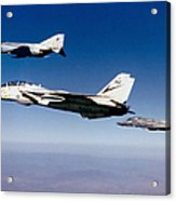 An F-14 Tomcat And Two F-4 Phantom IIs Acrylic Print