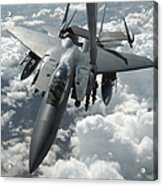 An F-15 E Strike Eagle Receives Fuel Acrylic Print by Stocktrek Images