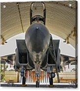 An F-15i Raam Parked In The Hangar Acrylic Print