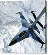 An F-16 Aggressor Sits In Contact Acrylic Print