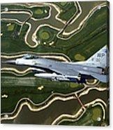 An F-16 Fighting Falcon Flies Near Base Acrylic Print