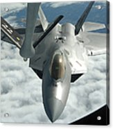 An F-22a Raptor Refuels With A Kc-135 Acrylic Print
