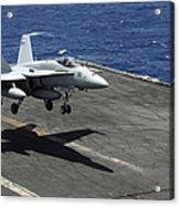 An Fa-18c Hornet Lands Aboard Acrylic Print