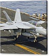 An Fa-18e Super Hornet Trap Landing Acrylic Print