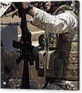 An Infantryman Talks To His Marines Acrylic Print