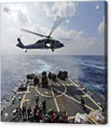 An Mh-60r Sea Hawk Transfers Supplies Acrylic Print