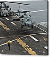 An Mh-60s Sea Hawk Lands Aboard Acrylic Print