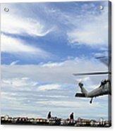 An Mh-60s Sea Hawk Lifts A Pallet Acrylic Print