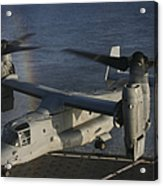An Mv-22 Osprey Prepares To Land Aboard Acrylic Print