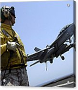 An Officer Observes An Fa-18f Super Acrylic Print