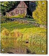 An Old Barn Reflected In The Pond Water Acrylic Print