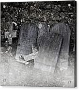An Old Cemetery With Grave Stones And Fog Acrylic Print