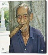 An Old Man Smokes An Over-sized Cigar Acrylic Print