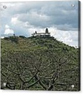 An Old Temple Building On Top Of A Hill With A Lot Of Clouds In The Sky Acrylic Print