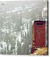 An Outhouse Perches On A Hillside Acrylic Print by Rex A. Stucky
