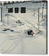 An Overhead View Of Buried Cars On An Acrylic Print by Ira Block