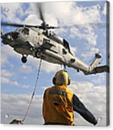 An Sh-60b Sea Hawk Helicopter Releases Acrylic Print